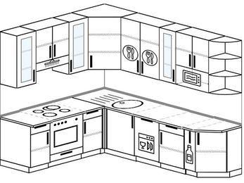 Угловая кухня 6,8 м² (1,9✕2,5 м), верхние модули 92 см, посудомоечная машина, модуль под свч, встроенный духовой шкаф