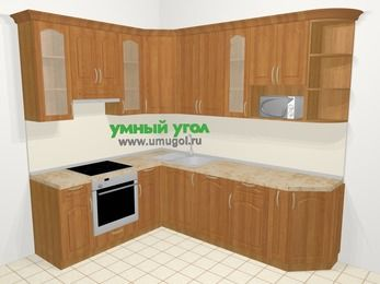 Угловая кухня МДФ матовый в классическом стиле 6,8 м², 190 на 250 см, Вишня, верхние модули 92 см, посудомоечная машина, модуль под свч, встроенный духовой шкаф