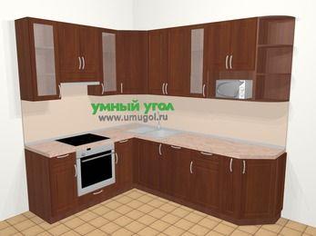 Угловая кухня МДФ матовый в классическом стиле 6,8 м², 190 на 250 см, Вишня темная, верхние модули 92 см, посудомоечная машина, модуль под свч, встроенный духовой шкаф