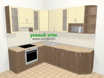 Угловая кухня МДФ матовый в современном стиле 6,8 м², 190 на 250 см, Ваниль / Лиственница бронзовая, верхние модули 92 см, посудомоечная машина, модуль под свч, встроенный духовой шкаф