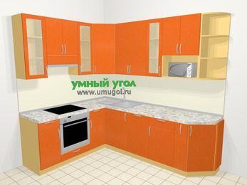 Угловая кухня МДФ металлик в современном стиле 6,8 м², 190 на 250 см, Оранжевый металлик, верхние модули 92 см, посудомоечная машина, модуль под свч, встроенный духовой шкаф