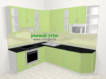 Угловая кухня МДФ металлик в современном стиле 6,8 м², 190 на 250 см, Салатовый металлик, верхние модули 92 см, посудомоечная машина, модуль под свч, встроенный духовой шкаф