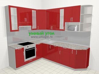 Угловая кухня МДФ глянец в современном стиле 6,8 м², 190 на 250 см, Красный, верхние модули 92 см, посудомоечная машина, модуль под свч, встроенный духовой шкаф