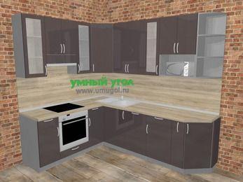 Угловая кухня МДФ глянец в стиле лофт 6,8 м², 190 на 250 см, Шоколад, верхние модули 92 см, посудомоечная машина, модуль под свч, встроенный духовой шкаф