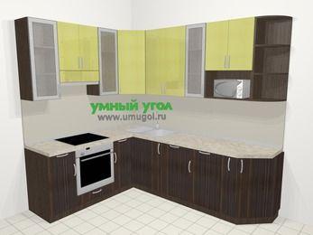 Кухни пластиковые угловые в современном стиле 6,8 м², 190 на 250 см, Желтый Галлион глянец / Дерево Мокка, верхние модули 92 см, посудомоечная машина, модуль под свч, встроенный духовой шкаф