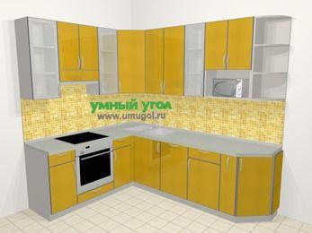 Кухни пластиковые угловые в современном стиле 6,8 м², 190 на 250 см, Желтый глянец, верхние модули 92 см, посудомоечная машина, модуль под свч, встроенный духовой шкаф