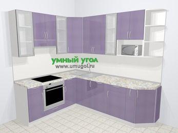 Кухни пластиковые угловые в современном стиле 6,8 м², 190 на 250 см, Сиреневый глянец, верхние модули 92 см, посудомоечная машина, модуль под свч, встроенный духовой шкаф