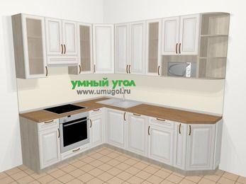 Угловая кухня МДФ патина в классическом стиле 6,8 м², 190 на 250 см, Лиственница белая, верхние модули 92 см, посудомоечная машина, модуль под свч, встроенный духовой шкаф