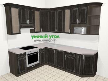 Угловая кухня МДФ патина в классическом стиле 6,8 м², 190 на 250 см, Венге, верхние модули 92 см, посудомоечная машина, модуль под свч, встроенный духовой шкаф