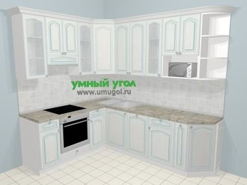 Угловая кухня МДФ патина в стиле прованс 6,8 м², 190 на 250 см, Лиственница белая, верхние модули 92 см, посудомоечная машина, модуль под свч, встроенный духовой шкаф