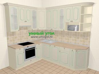 Угловая кухня МДФ патина в стиле прованс 6,8 м², 190 на 250 см, Керамик, верхние модули 92 см, посудомоечная машина, модуль под свч, встроенный духовой шкаф
