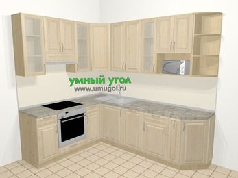 Угловая кухня из массива дерева в классическом стиле 6,8 м², 190 на 250 см, Светло-коричневые оттенки, верхние модули 92 см, посудомоечная машина, модуль под свч, встроенный духовой шкаф