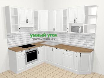 Угловая кухня из массива дерева в скандинавском стиле 6,8 м², 190 на 250 см, Белые оттенки, верхние модули 92 см, посудомоечная машина, модуль под свч, встроенный духовой шкаф