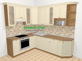 Угловая кухня из массива дерева в стиле кантри 6,8 м², 190 на 250 см, Бежевые оттенки, верхние модули 92 см, посудомоечная машина, модуль под свч, встроенный духовой шкаф