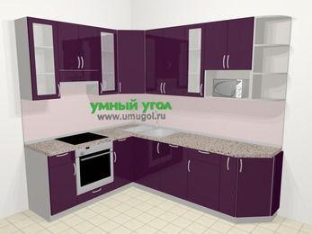 Угловая кухня МДФ глянец в современном стиле 6,8 м², 190 на 250 см, Баклажан, верхние модули 92 см, посудомоечная машина, модуль под свч, встроенный духовой шкаф