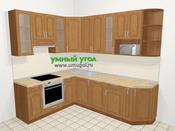 Угловая кухня МДФ патина в классическом стиле 6,8 м², 190 на 250 см, Ольха, верхние модули 92 см, посудомоечная машина, модуль под свч, встроенный духовой шкаф