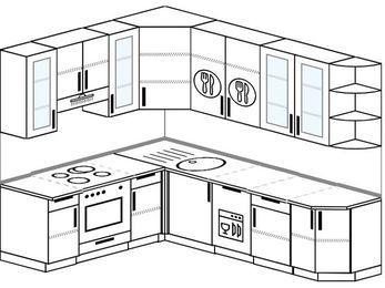 Угловая кухня 6,8 м² (1,9✕2,5 м), верхние модули 92 см, посудомоечная машина, встроенный духовой шкаф
