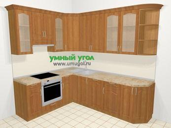 Угловая кухня МДФ матовый в классическом стиле 6,8 м², 190 на 250 см, Вишня, верхние модули 92 см, посудомоечная машина, встроенный духовой шкаф