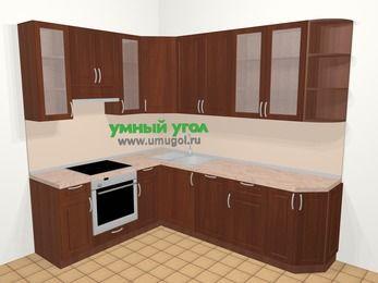 Угловая кухня МДФ матовый в классическом стиле 6,8 м², 190 на 250 см, Вишня темная, верхние модули 92 см, посудомоечная машина, встроенный духовой шкаф