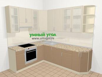 Угловая кухня МДФ матовый в современном стиле 6,8 м², 190 на 250 см, Керамик / Кофе, верхние модули 92 см, посудомоечная машина, встроенный духовой шкаф