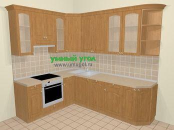 Угловая кухня МДФ матовый в стиле кантри 6,8 м², 190 на 250 см, Ольха, верхние модули 92 см, посудомоечная машина, встроенный духовой шкаф