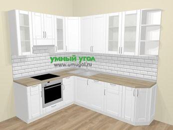 Угловая кухня МДФ матовый  в скандинавском стиле 6,8 м², 190 на 250 см, Белый, верхние модули 92 см, посудомоечная машина, встроенный духовой шкаф