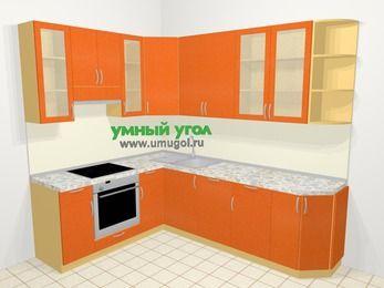 Угловая кухня МДФ металлик в современном стиле 6,8 м², 190 на 250 см, Оранжевый металлик, верхние модули 92 см, посудомоечная машина, встроенный духовой шкаф