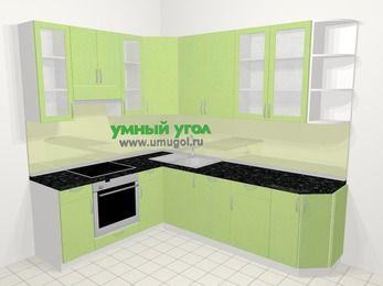 Угловая кухня МДФ металлик в современном стиле 6,8 м², 190 на 250 см, Салатовый металлик, верхние модули 92 см, посудомоечная машина, встроенный духовой шкаф