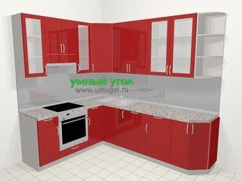 Угловая кухня МДФ глянец в современном стиле 6,8 м², 190 на 250 см, Красный, верхние модули 92 см, посудомоечная машина, встроенный духовой шкаф