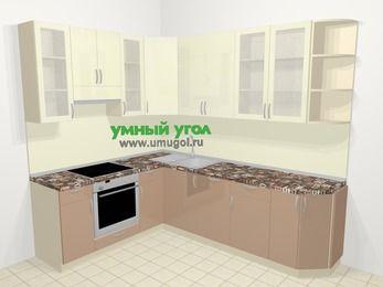 Угловая кухня МДФ глянец в современном стиле 6,8 м², 190 на 250 см, Жасмин / Капучино, верхние модули 92 см, посудомоечная машина, встроенный духовой шкаф