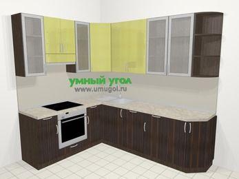 Кухни пластиковые угловые в современном стиле 6,8 м², 190 на 250 см, Желтый Галлион глянец / Дерево Мокка, верхние модули 92 см, посудомоечная машина, встроенный духовой шкаф