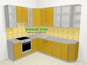 Кухни пластиковые угловые в современном стиле 6,8 м², 190 на 250 см, Желтый глянец, верхние модули 92 см, посудомоечная машина, встроенный духовой шкаф