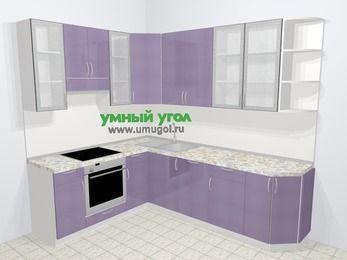 Кухни пластиковые угловые в современном стиле 6,8 м², 190 на 250 см, Сиреневый глянец, верхние модули 92 см, посудомоечная машина, встроенный духовой шкаф
