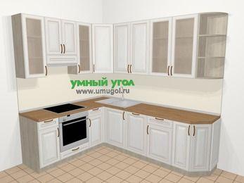 Угловая кухня МДФ патина в классическом стиле 6,8 м², 190 на 250 см, Лиственница белая, верхние модули 92 см, посудомоечная машина, встроенный духовой шкаф