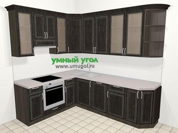 Угловая кухня МДФ патина в классическом стиле 6,8 м², 190 на 250 см, Венге, верхние модули 92 см, посудомоечная машина, встроенный духовой шкаф