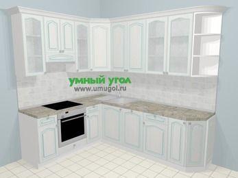 Угловая кухня МДФ патина в стиле прованс 6,8 м², 190 на 250 см, Лиственница белая, верхние модули 92 см, посудомоечная машина, встроенный духовой шкаф