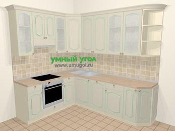 Угловая кухня МДФ патина в стиле прованс 6,8 м², 190 на 250 см, Керамик, верхние модули 92 см, посудомоечная машина, встроенный духовой шкаф