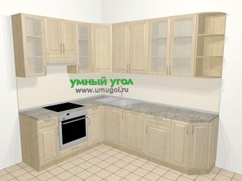 Угловая кухня из массива дерева в классическом стиле 6,8 м², 190 на 250 см, Светло-коричневые оттенки, верхние модули 92 см, посудомоечная машина, встроенный духовой шкаф