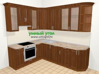 Угловая кухня из массива дерева в классическом стиле 6,8 м², 190 на 250 см, Темно-коричневые оттенки, верхние модули 92 см, посудомоечная машина, встроенный духовой шкаф
