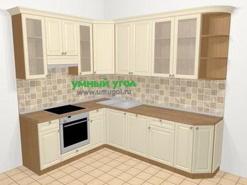 Угловая кухня из массива дерева в стиле кантри 6,8 м², 190 на 250 см, Бежевые оттенки, верхние модули 92 см, посудомоечная машина, встроенный духовой шкаф