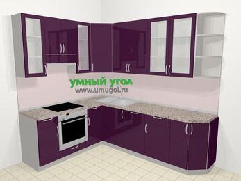 Угловая кухня МДФ глянец в современном стиле 6,8 м², 190 на 250 см, Баклажан, верхние модули 92 см, посудомоечная машина, встроенный духовой шкаф