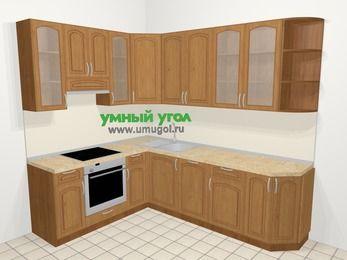 Угловая кухня МДФ патина в классическом стиле 6,8 м², 190 на 250 см, Ольха, верхние модули 92 см, посудомоечная машина, встроенный духовой шкаф