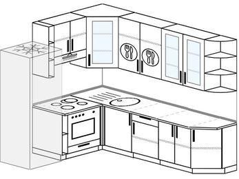 Угловая кухня 6,8 м² (1,9✕2,5 м), верхние модули 92 см, встроенный духовой шкаф, холодильник