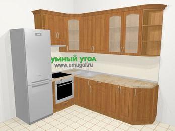 Угловая кухня МДФ матовый в классическом стиле 6,8 м², 190 на 250 см, Вишня, верхние модули 92 см, встроенный духовой шкаф, холодильник