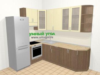 Угловая кухня МДФ матовый в современном стиле 6,8 м², 190 на 250 см, Ваниль / Лиственница бронзовая, верхние модули 92 см, встроенный духовой шкаф, холодильник