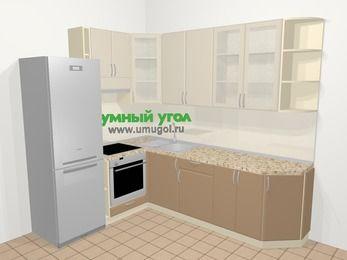 Угловая кухня МДФ матовый в современном стиле 6,8 м², 190 на 250 см, Керамик / Кофе, верхние модули 92 см, встроенный духовой шкаф, холодильник