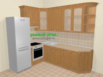 Угловая кухня МДФ матовый в стиле кантри 6,8 м², 190 на 250 см, Ольха, верхние модули 92 см, встроенный духовой шкаф, холодильник