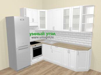 Угловая кухня МДФ матовый  в скандинавском стиле 6,8 м², 190 на 250 см, Белый, верхние модули 92 см, встроенный духовой шкаф, холодильник