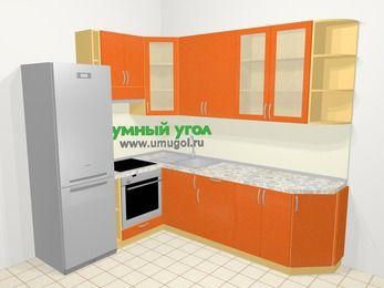 Угловая кухня МДФ металлик в современном стиле 6,8 м², 190 на 250 см, Оранжевый металлик, верхние модули 92 см, встроенный духовой шкаф, холодильник