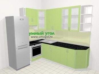 Угловая кухня МДФ металлик в современном стиле 6,8 м², 190 на 250 см, Салатовый металлик, верхние модули 92 см, встроенный духовой шкаф, холодильник